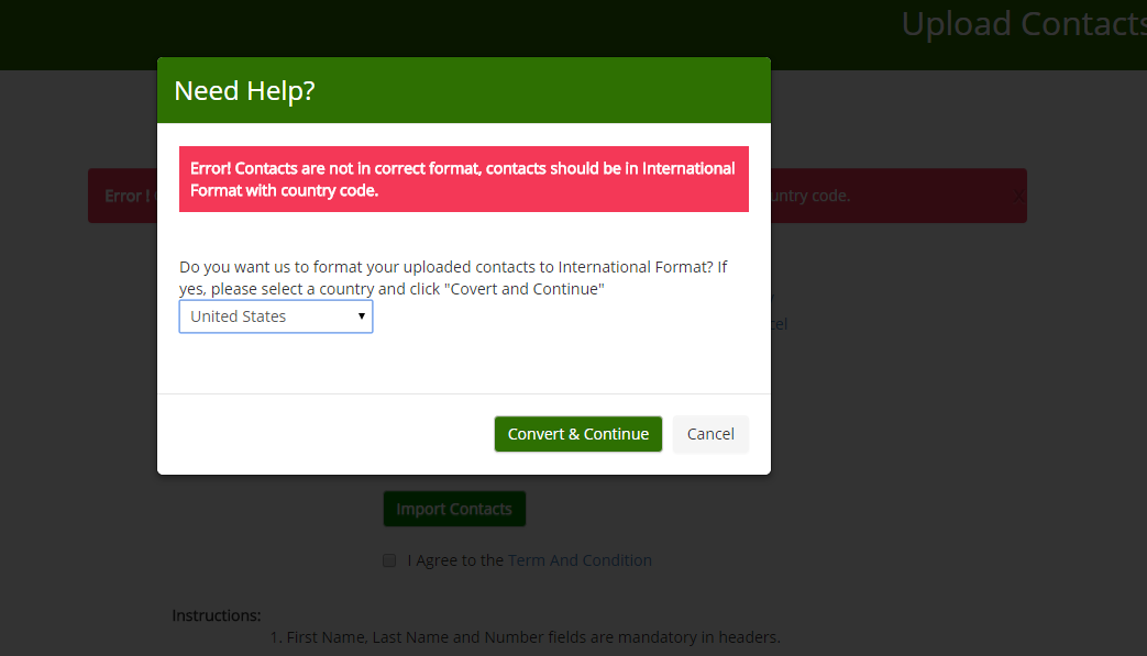 Uploading Contacts made easy !!